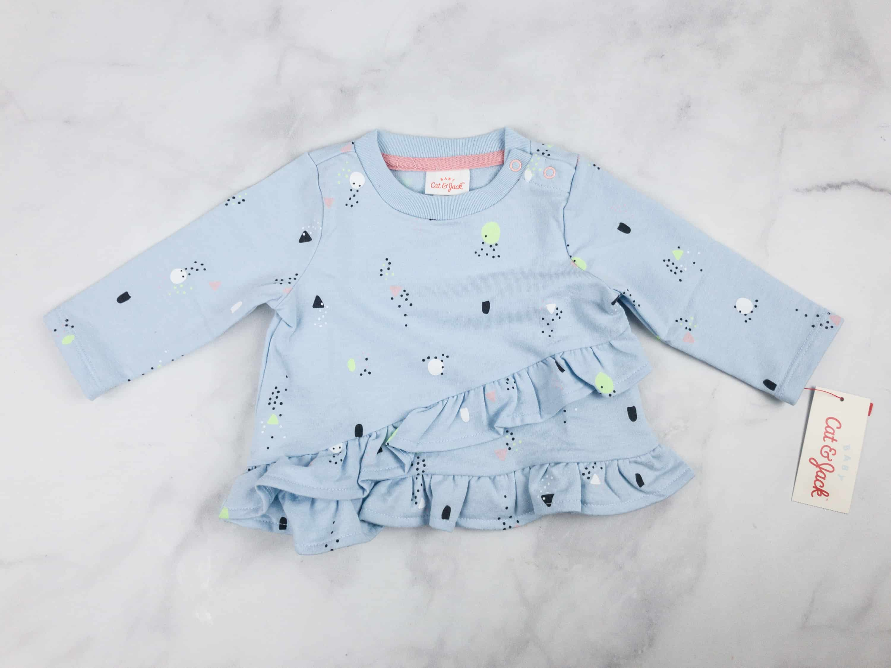 e5bbbd2b4b8c ... Set (est  9.99)This pair is composed of a long sleeved baby blue  sweatshirt top and peach leggings. The details are so cute! The top is  printed with ...