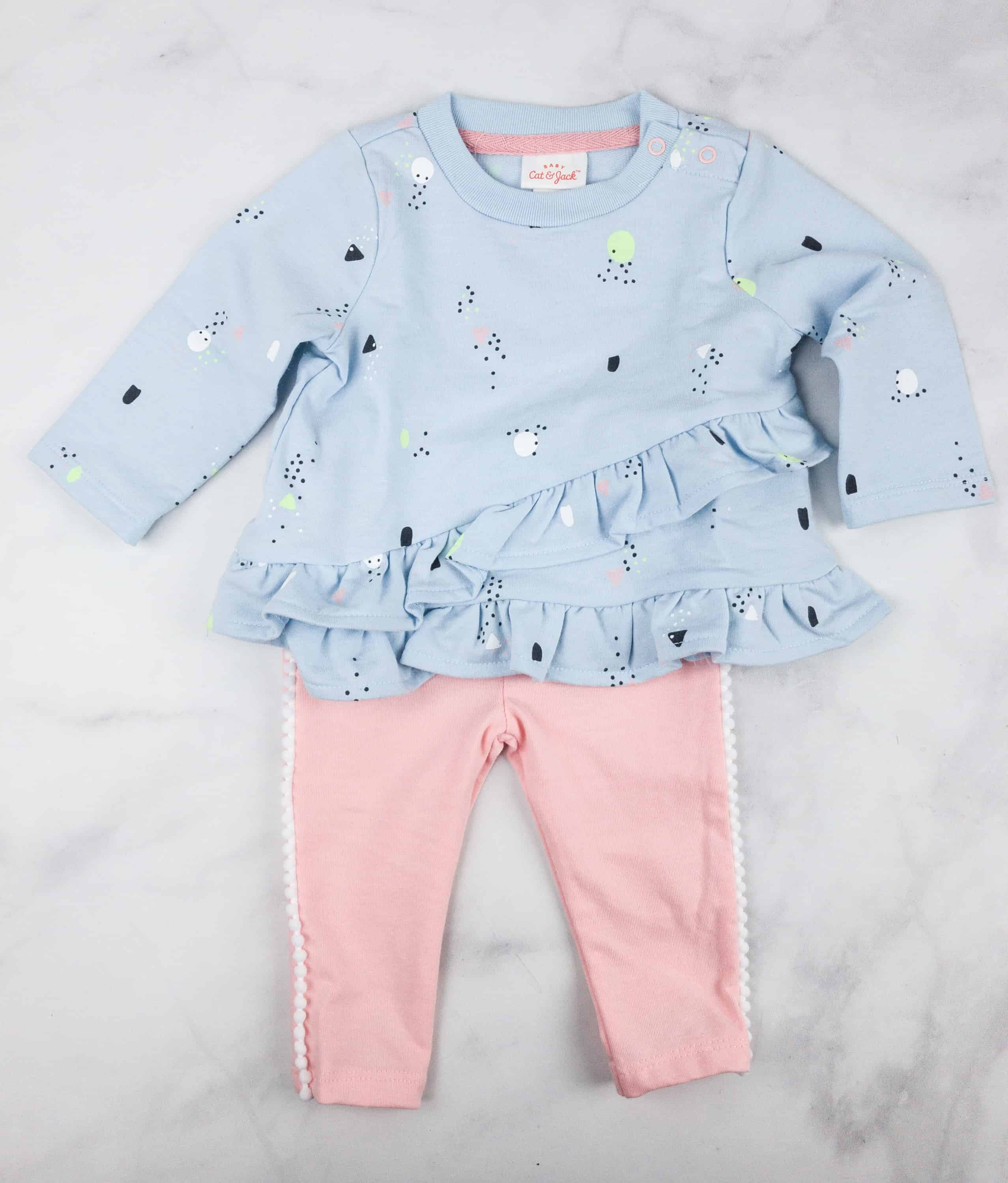 8fc9c4b62 Cat & Jack Baby Girls' Sweatshirt and Leggings Set (est $9.99)This pair is  composed of a long sleeved baby blue sweatshirt top and peach leggings.