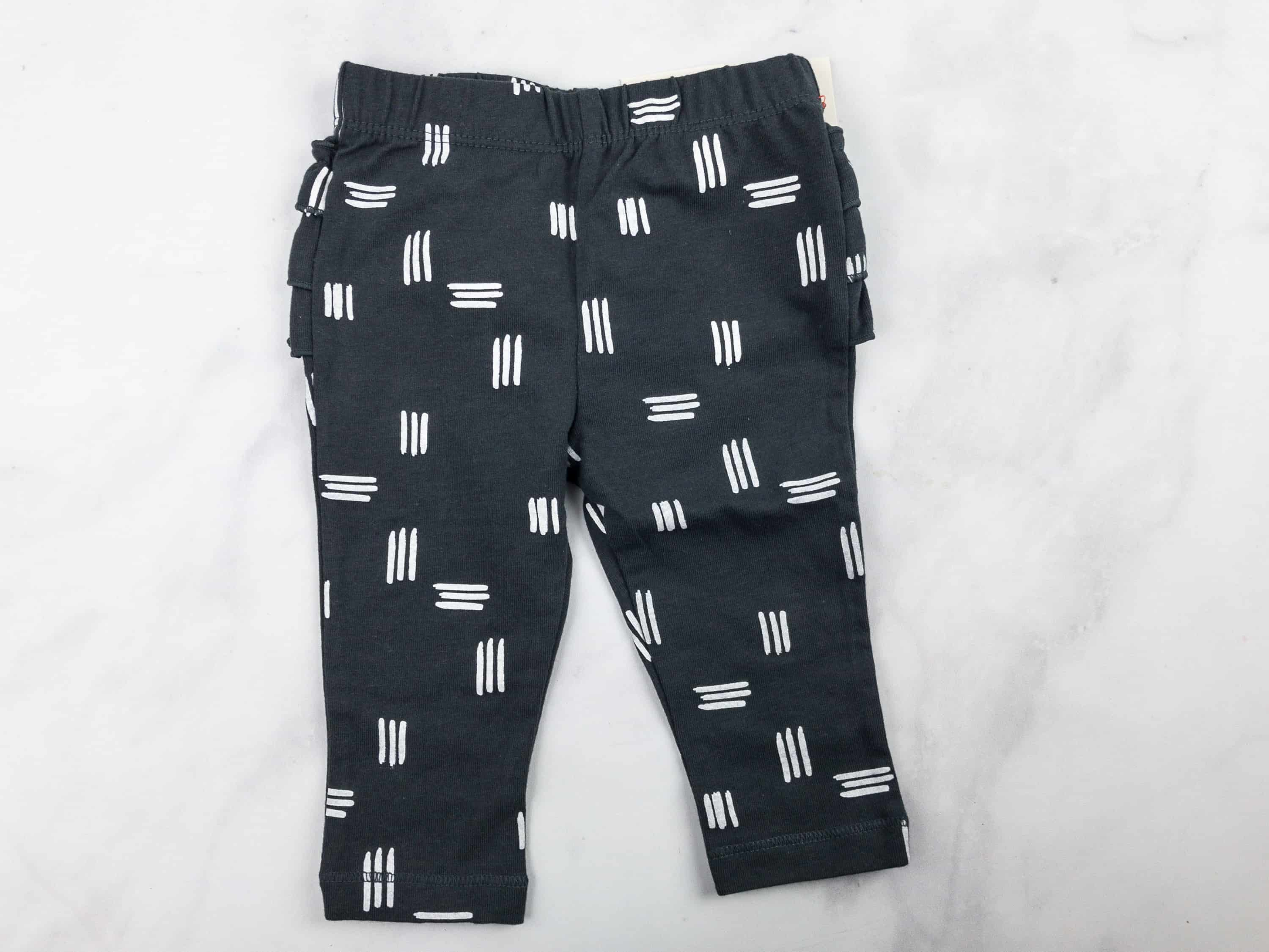 b4d646c122a3 Cat   Jack Baby Girls  Leggings with Shapes Print and Bottom Ruffles (est   6.99) These black leggings are decorated with white stripes and accented  with ...