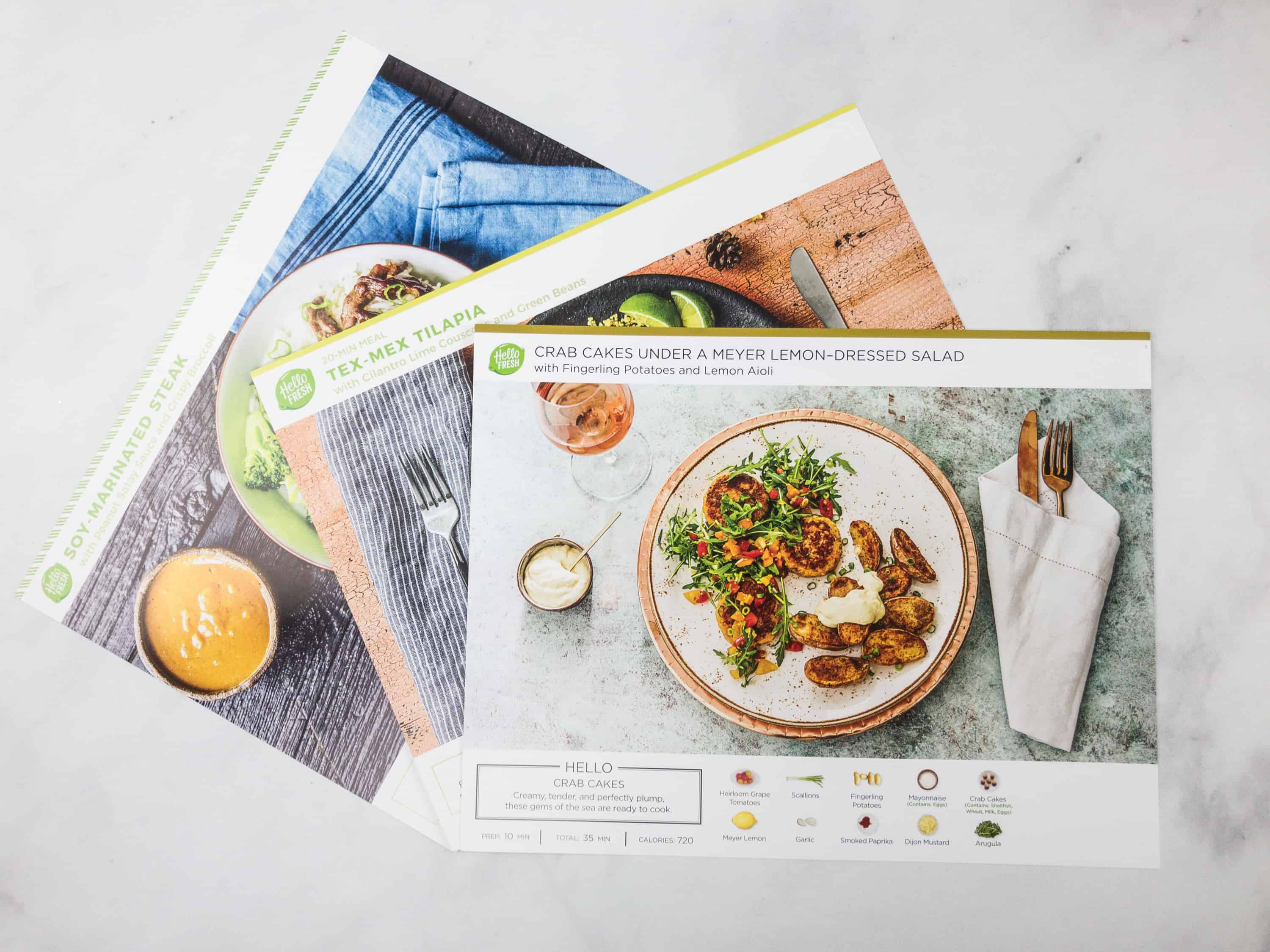 February 2018 hello fresh subscription box review coupon each hello fresh recipe has its own lovely card with a picture of the plated dish prep time and total time to table calorie count and a visual inventory forumfinder Images