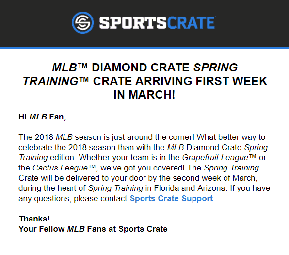 Sports Crate: MLB Edition March 2018 Shipping Update!
