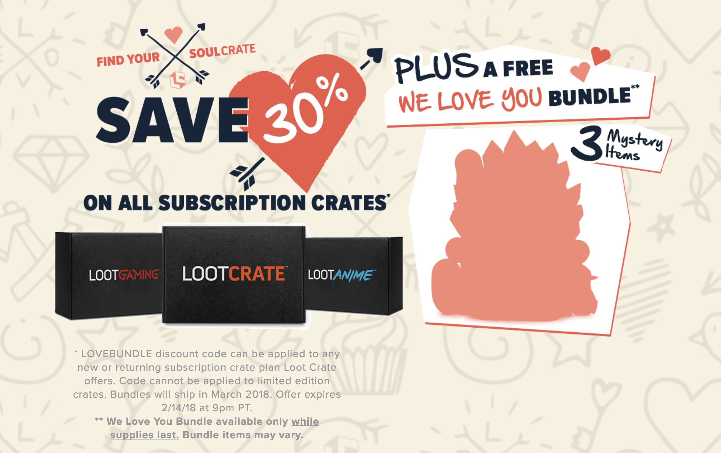 LAST DAY: Loot Crate Valentine's Deal: Get 30% Off Any Subscription + Free Bundle!