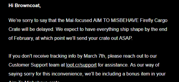 Firefly Cargo Crate January 2018 Shipping Update!