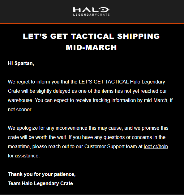 February 2018 Loot Crate Halo Legendary Crate Shipping Update