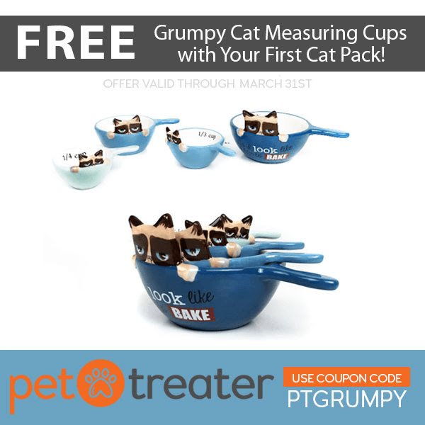 FREE Grumpy Cat Measuring Cups With Your First Pet Treater Cat Pack!
