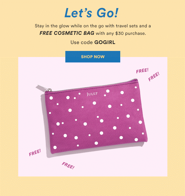New Julep Code: Get a FREE Cosmetic Bag With Any $30 Purchase! - hello subscription