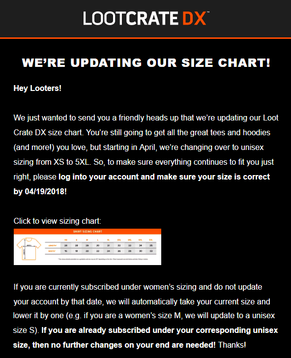 Loot Crate Dx Size Chart Update Hello Subscription