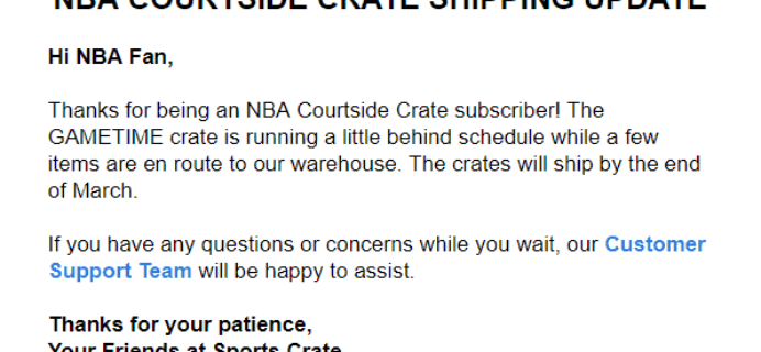 Sports Crate: NBA Courtside Edition GAMETIME Crate Shipping Update!