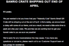 Sanrio Small Gift Crate Spring 2018 Shipping Delay