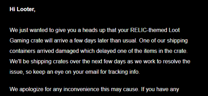 March 2018 Loot Gaming Shipping Delay