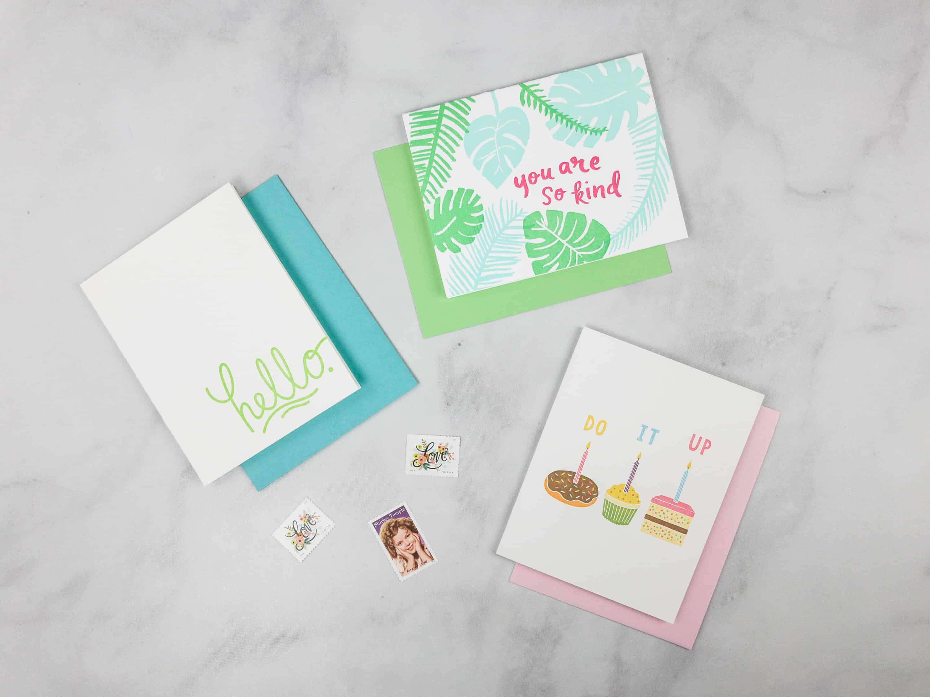 Nicely noted march 2018 subscription box review coupon hello each greeting card is individually packed with an envelope in a clear plastic wrapping and the stamps are in a small pouch m4hsunfo