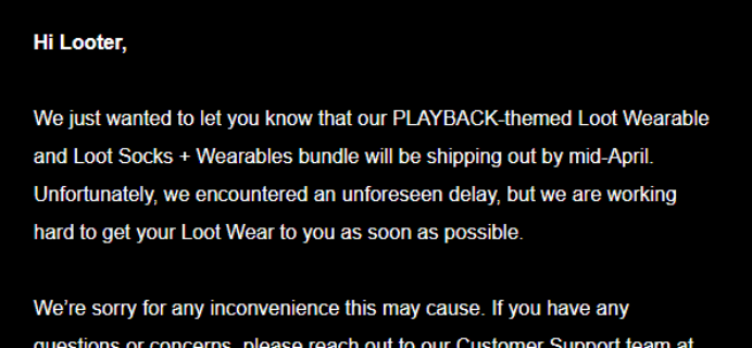 Loot Wearables March 2018 Shipping Delays