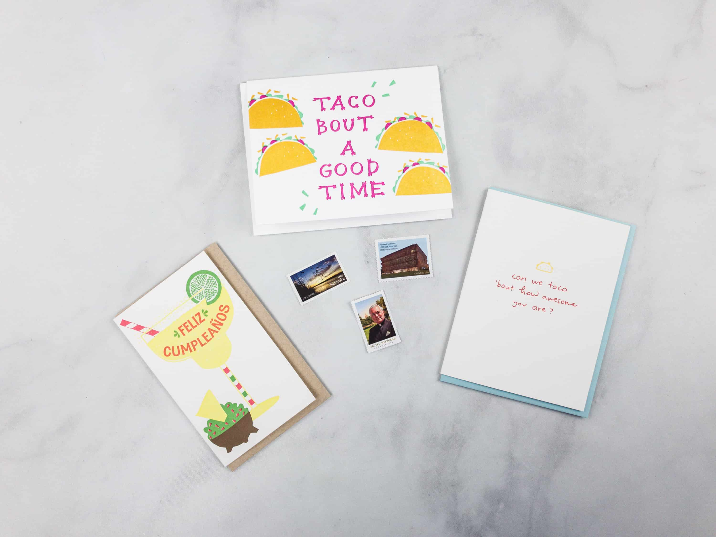 Nicely noted april 2018 subscription box review coupon hello each greeting card is individually packed with an envelope in a clear plastic wrapping and the stamps are in a small pouch m4hsunfo