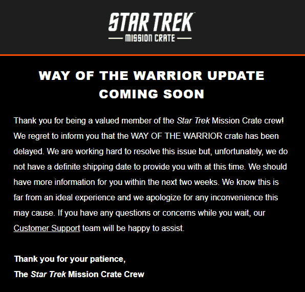Star Trek: Mission Crate March 2018 Shipping Update #2