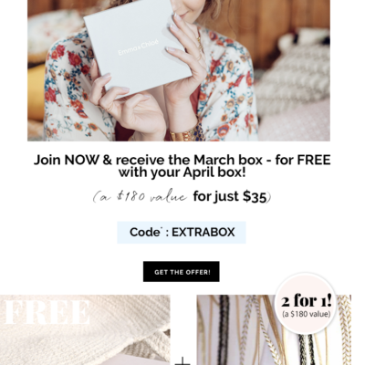 Emma & Chloe Coupon:  Free March Box With Subscription! LAST DAY!