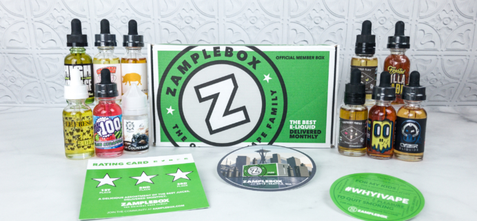 Zamplebox E-Juice April 2018 Subscription Box Review + Coupon!
