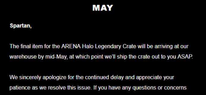 April 2018 Loot Crate Halo Legendary Crate Shipping Update