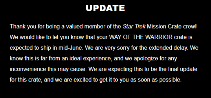 Star Trek: Mission Crate March 2018 Shipping Update #3