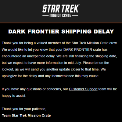 Star Trek: Mission Crate May 2018 Shipping Delay