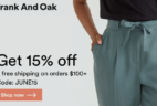 Frank And Oak June Sale: Get 15% Off + Free Shipping On $100+ Orders!
