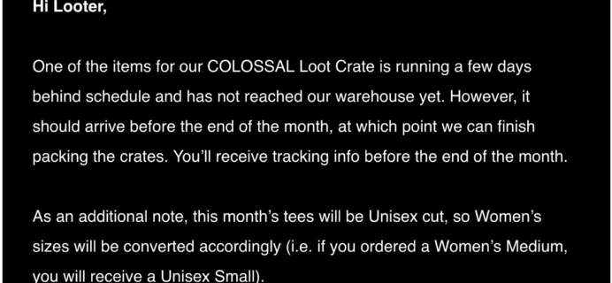 June 2018 Loot Crate Shipping Update
