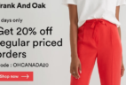 Frank And Oak Canada Day Sale: Get 20% Off Regular Priced Orders!