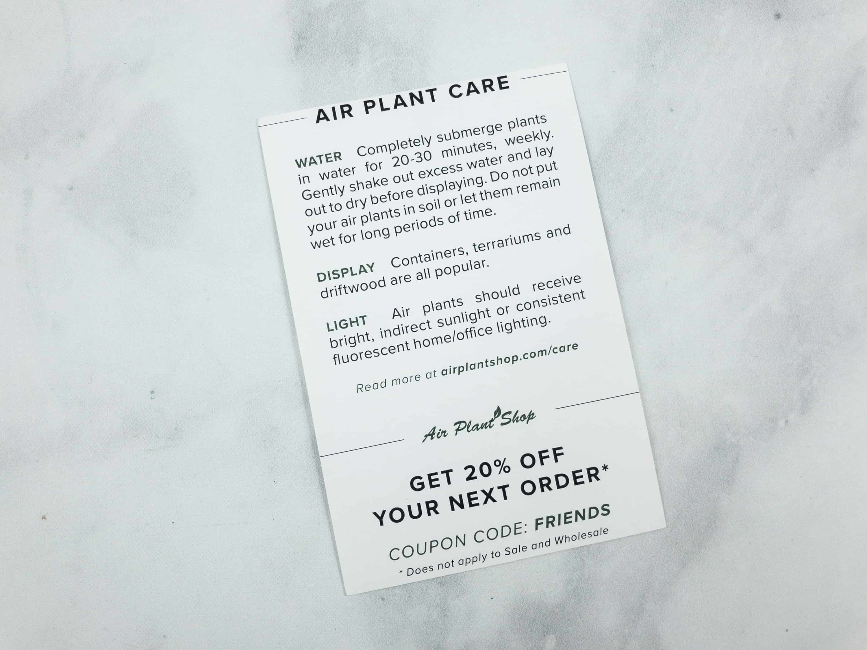 Care Tips For Your New Plant Are Printed At The Back Of Card There S Also A 20 Off Coupon You Can Use On Their Website