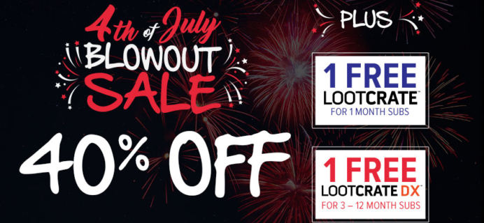 Loot Crate 4th of July Blowout Sale: 40% Off Select Crate Subscriptions + Free Box!