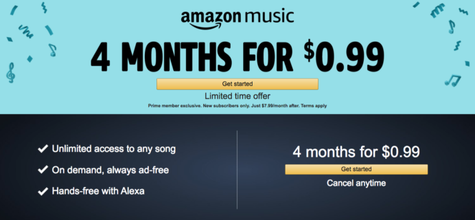 Amazon Music Unlimited Prime Day Deal – 4 Months for 99¢! LAST DAY!