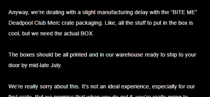 Deadpool Club Merc Shipping Update