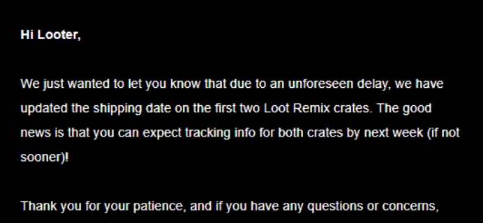 Loot Remix June 2018 Shipping Update #3 + Coupon!