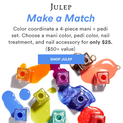 Julep Make A Match Promo: Get A 4-Piece Mani + Pedi Set For Only $25!