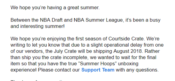 Sports Crate: NBA Courtside Edition SUMMER HOOPS Crate Shipping Update!