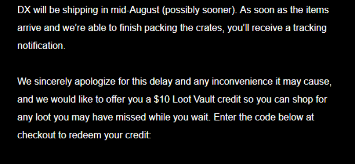July 2018 Loot Crate DX Shipping Update