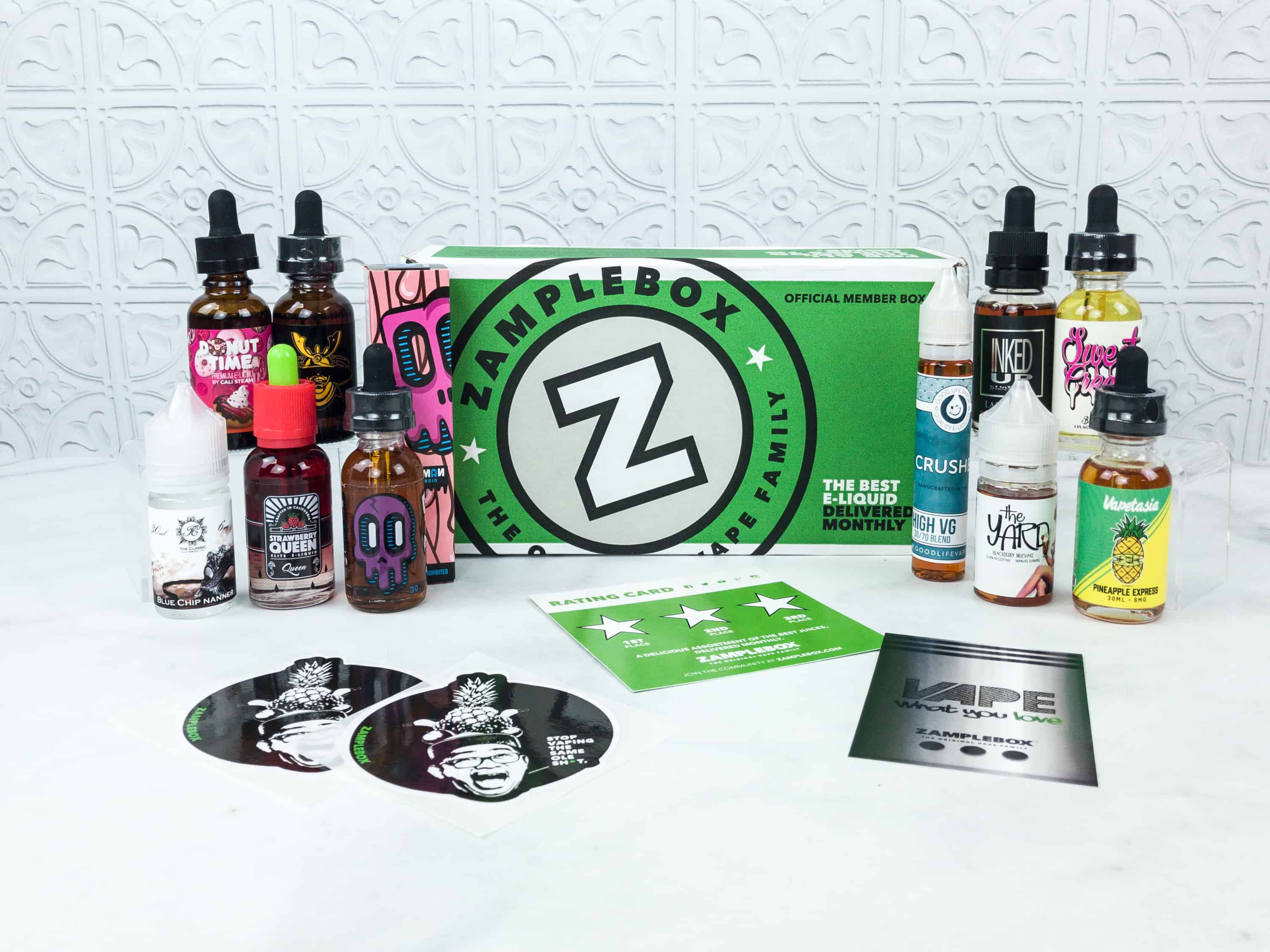 Zamplebox E-Juice July 2018 Subscription Box Review + Coupon!