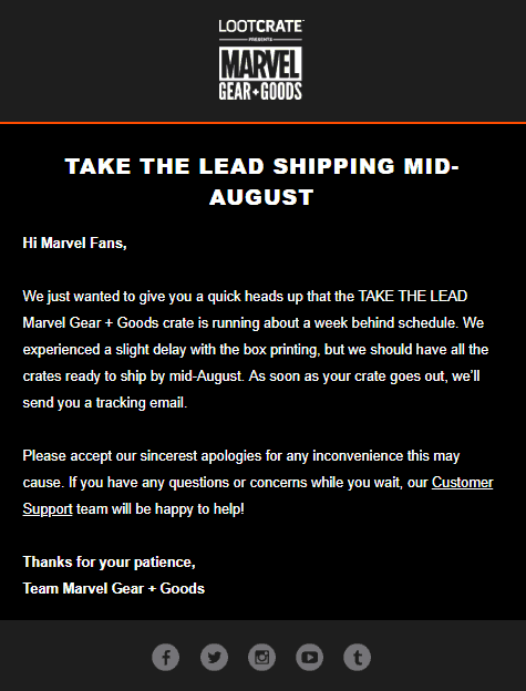 Loot Crate Marvel Gear + Goods July 2018 Shipping Update