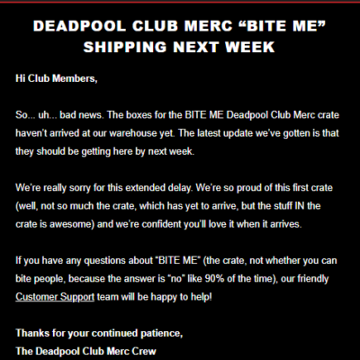 Deadpool Club Merc BITE ME Shipping Update