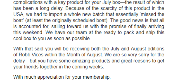 Robb Vices Price July 2018 Shipping Update