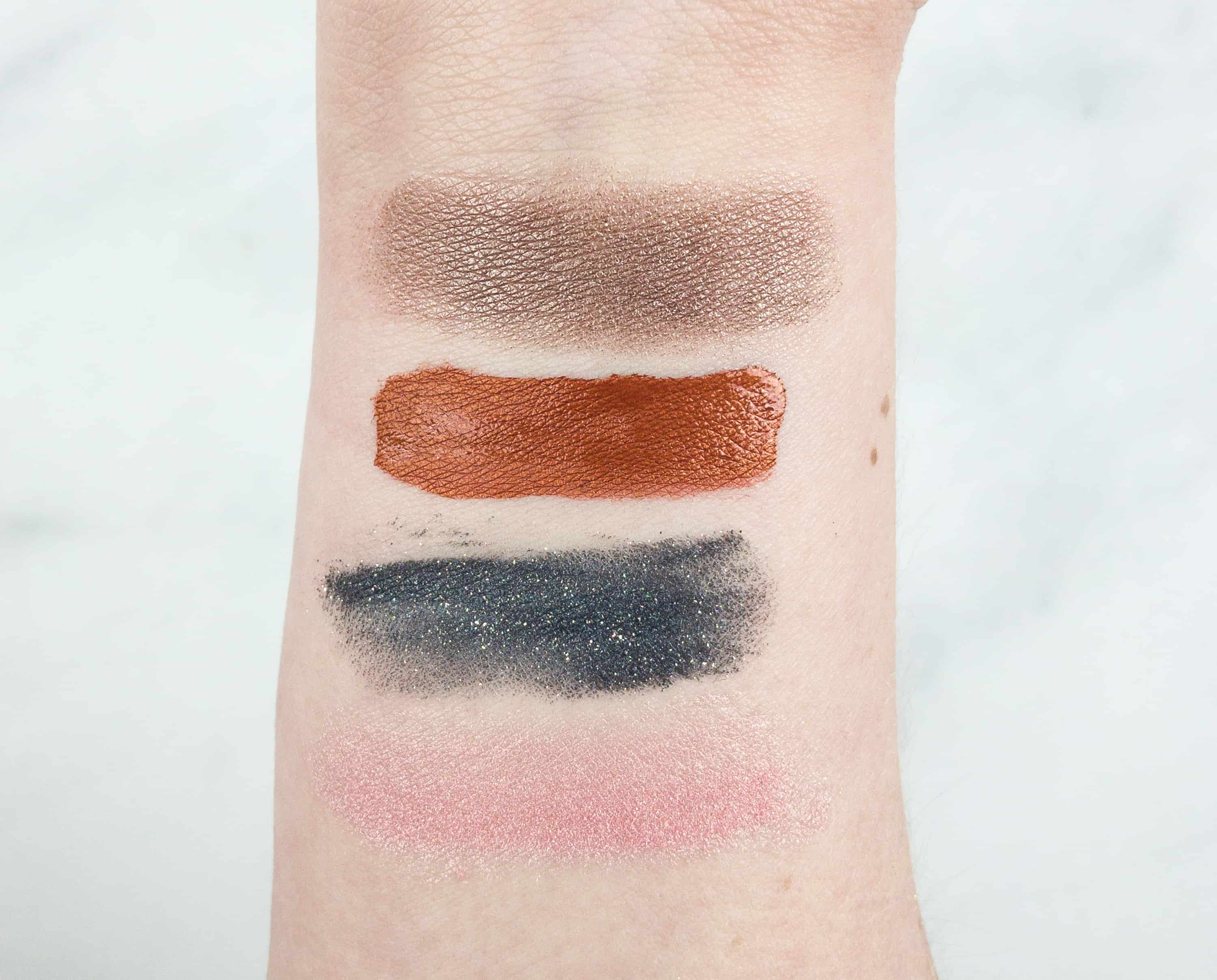 The swatches look really good. All of the colors seem to suit my complexion and you can make a bold but not too wild look. I love the gold specks of shimmer ...