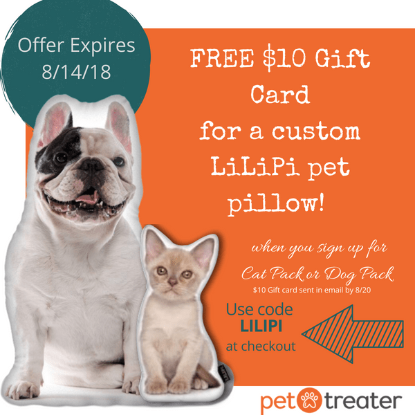 Pet Treater Dog Pack & Cat Pack Coupon: $10 Gift Card for Custom Pet Pillow!
