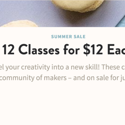 Craftsy Flash Sale: 12 Classes for $12 Each! TODAY ONLY!