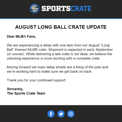 Sports Crate: MLB Edition August 2018 Crate Shipping Update!
