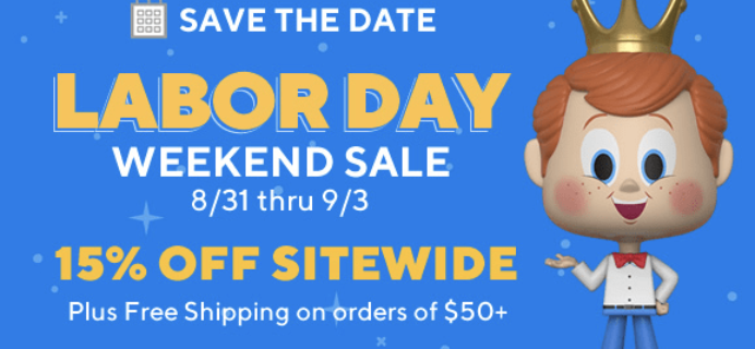 Funko Labor Day Promo: Get 15% Off Sitewide + Free Shipping On $50+ Orders!