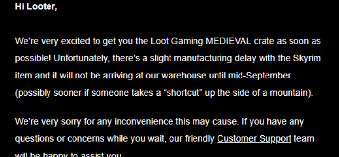 August 2018 Loot Gaming Shipping Update