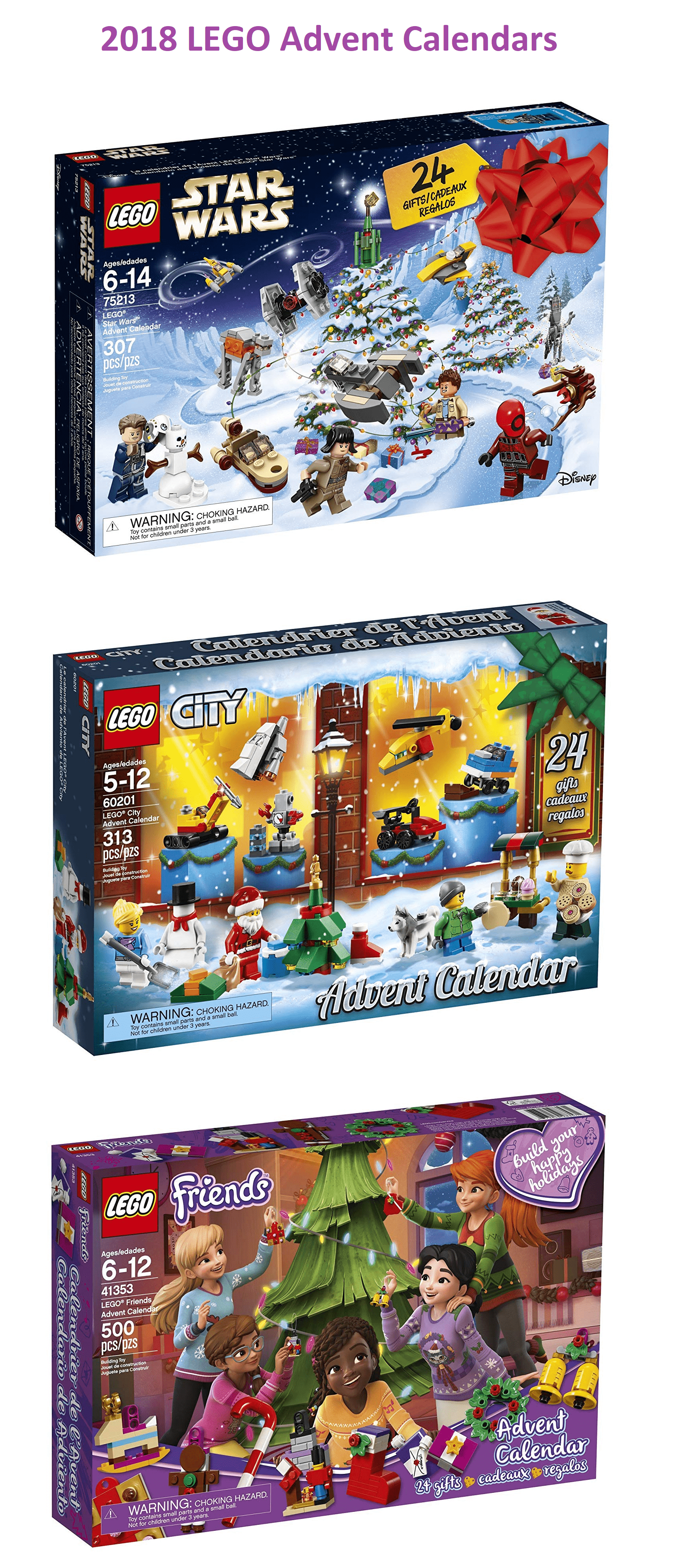 Lego 2018 Advent Calendars Available Now Star Wars Friends City