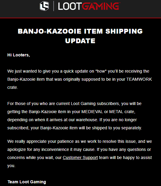 July 2018 Loot Gaming Item Shipping Update