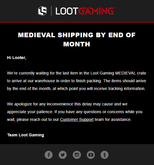 August 2018 Loot Gaming Shipping Update #2