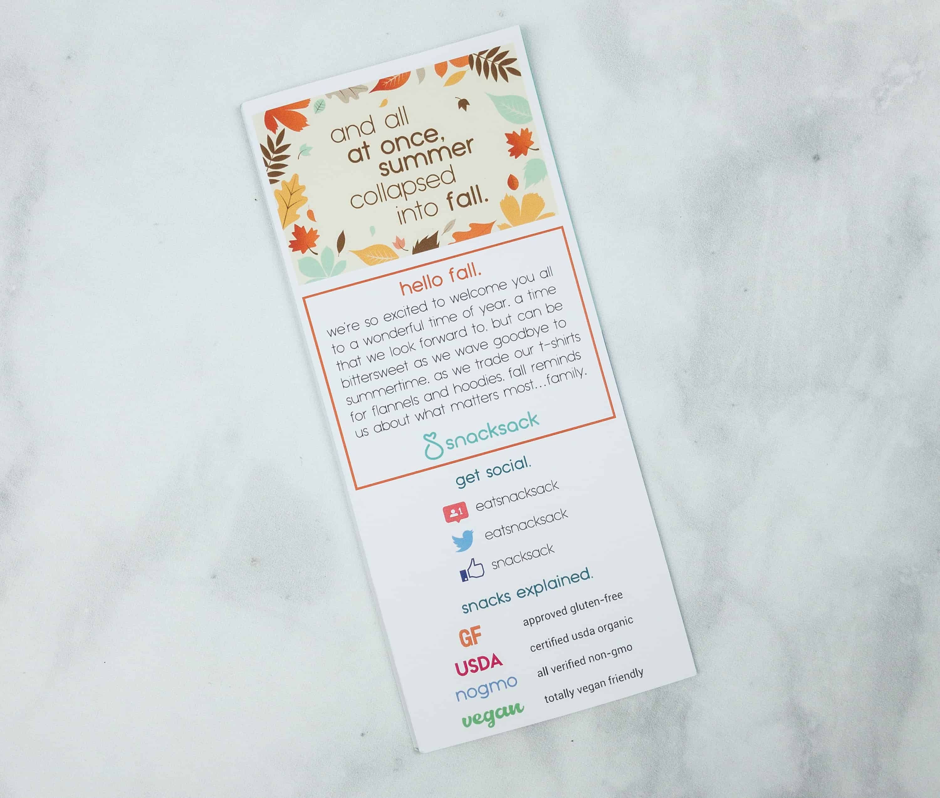 SnackSack September 2018 Subscription Box Review & Coupon