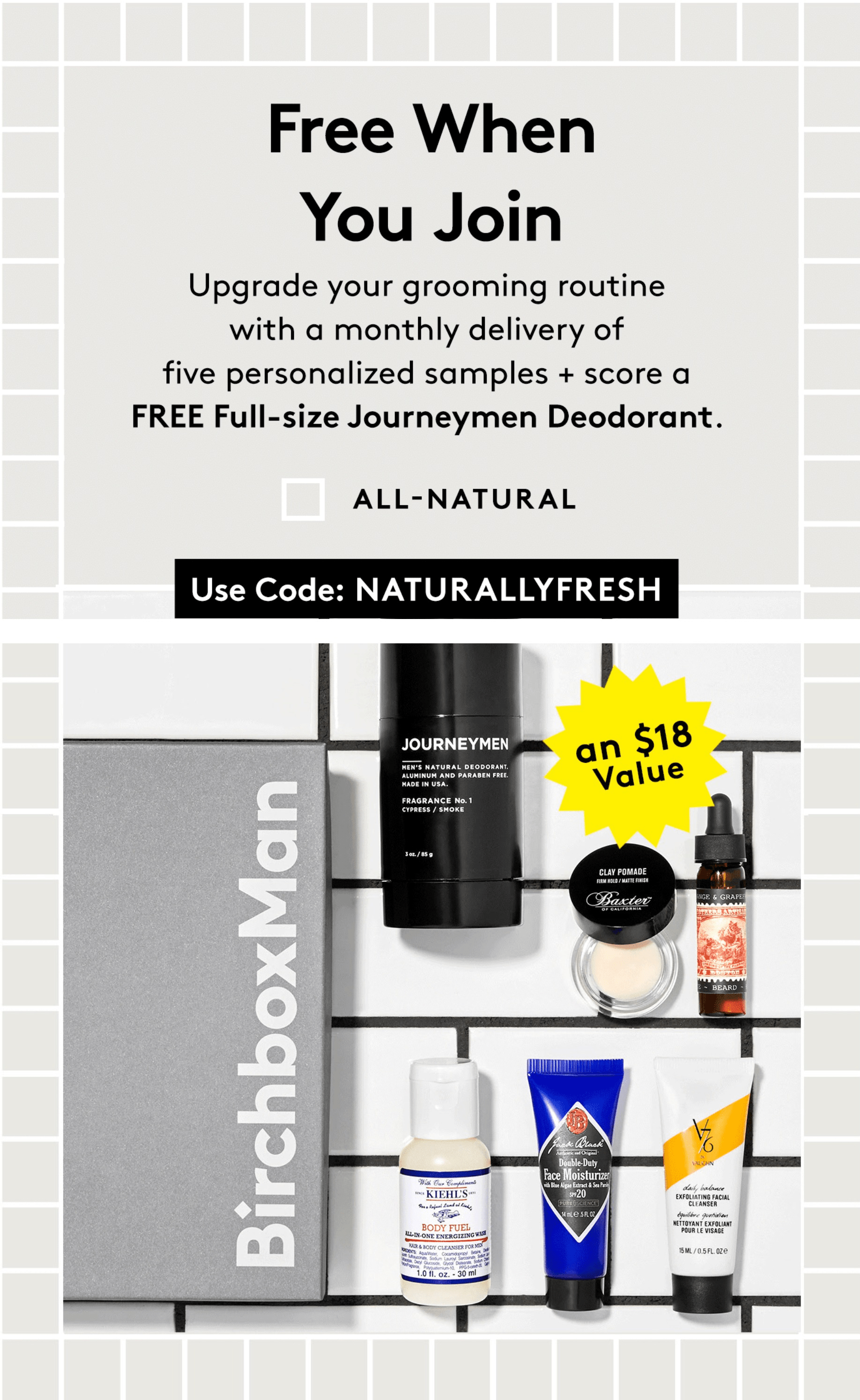 Birchbox Man Coupon: Get FREE Full-Size Journeymen Deodorant With Your First Box!