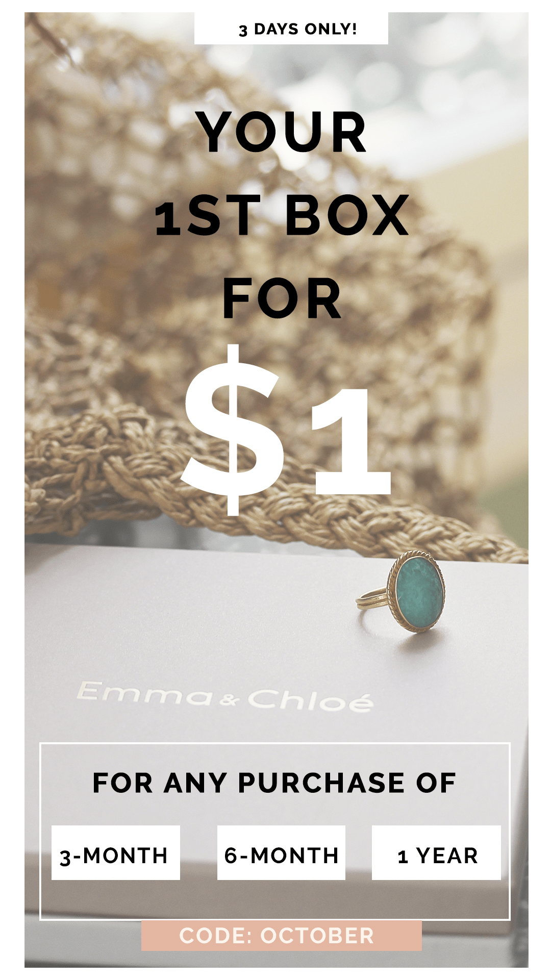 Emma & Chloe Coupon: First Month $1 with 3-Month Subscription!
